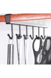 BSTCAR Hakenleiste Küche Multifunktionales Haken Ohne Bohren Schrankeinsatz Tassenhalter Hakenleiste Ohne Bohren Hängeleiste Schwarz für 6 Tassen Einfache Installation