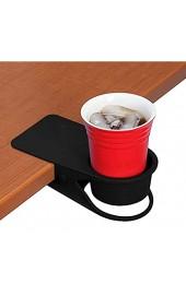 BYBOT Getränkehalter Clip - Tisch Schreibtisch Seite Flasche Cup Stand Wasser Kaffeetasse Halter Untertasse Clip Design für Home & Office (Schwarz)
