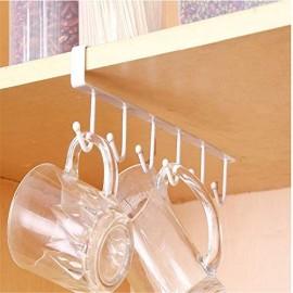 Tassenhalter Haken schrankeinsatz Schrank Schrauben ohne Bohren für Tassen Halterung unter Aufbewahrung Organizer Küchenrollenhalter Papierrollenhalter Eisen Weiß Tassenhalterung für 6 Tasse1 Stück