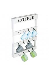 Wand montiert Holz 12Haken Kaffee Tee Tasse Halter Küche Storage Rack weiß