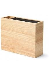 Continenta Messerblock MIT Gravur (z.B. Namen) aus Holz mit flexiblem Einsatz und Utensilienbehälter 27 5 x 9 x 21 5 cm