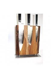 lacefix Magnet Messerblock Massivholz - mit Baumkante - Rustikal - Eichenholz