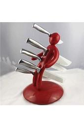 WHCQ Edelstahl Messerhalter Ohne Messer Kreative Humanoid Küchenmesser Block Set 5 Slot Messerhalter Stehen Lagerregal Organizer Küche Liefert Schwarz