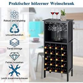 COSTWAY Weinschrank für 20 Flaschen Weinregal Holz Flaschenregal mit Glasaufhänger Weinständer Gläserregal für Küche Bar Flaschenständer 42x24 5x96cm(Schwarz)
