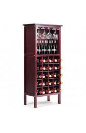 Giantex Weinschrank Holz Weinregal Flaschenregal für 20 Flaschen mit Glasaufhänger Weinständer Flaschenständer Gläserregal Vintage für Küche Bar 42 x 24 5 x 96cm (rotbraun)