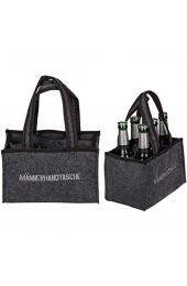 KOSxBO Herrenhandtasche Filztasche Flaschentasche aus Filz für 6 Flaschen 6er Träger bis 0 5 L grau/schwarz 24 x 15 x 15 cm Männerhandtasche - Geschenk für Männer