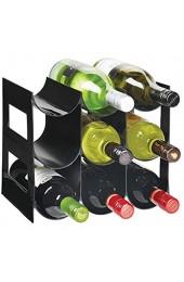mDesign praktisches Wein- und Flaschenregal – Weinregal Kunststoff für bis zu 9 Flaschen – freistehendes Regal für Weinflaschen oder andere Getränke – schwarz