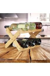 Relaxdays Weinregal Bambus X Shape 8 Flaschen Landhaus-Stil klein Flaschenregal faltbar HBT 22 x 36 x 20 cm natur