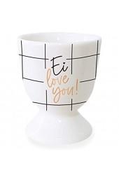 Grafik-Werkstatt Eierbecher mit Echtgold | Porzellan Becher | Ei Love You weiß normal