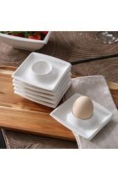 MALACASA Serie Blance 6 Teiligen Set Eierbecher aus Cremeweiß Porzellan Eierständer Eierhalter je 4 Zoll / 10x10x2 5cm
