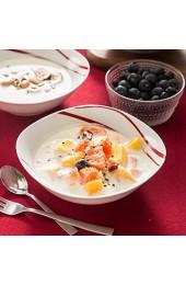 MALACASA Serie Felisa 6 teilig Müslischale Set Porzellan Dessertschale Schüsseln 17x17x5cm