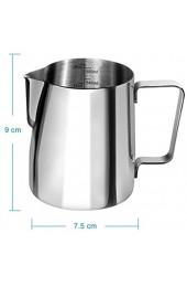 Anpro Milchkännchen 600ml Milk Pitcher Milchkanne aus Edelstahl perfekt für Cappuccino Milchaufschäumer Silber MEHRWEG