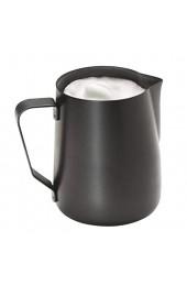 APS Milchkännchen – Hochwertige antihaftbeschichtete Milchkanne aus rostfreiem Edelstahl – Perfekt für die Herstellung von Milchschaum - Universalkanne schwarz 600 ml