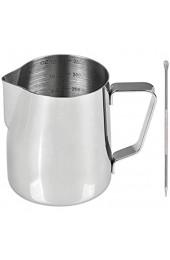 DODUOS Milchschaum Krug 350ml Edelstahl Milchkännchen mit Latte Art Stift Milch Pitcher für Cappuccino Milchschau und Latté Art