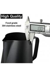 Emsmil 350ml Edelstahl Milchkännchen Kit Milchaufschäumer Kännchen mit Messung Mark und Latte Art Stift Schwarz Milchkanne Barista Aufschäumkännchen Sahnekännchen für Cappuccino Espresso