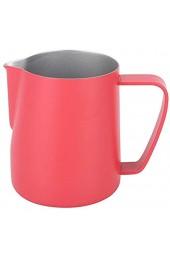 Milchkännchen 350 ml Edelstahl-Milchaufschäumkanne Aufschäumer Kaffee Latte Behälter Tasse Kaffee Utensilien(Rosenrot)
