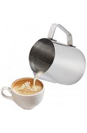 Milchkännchen 350 ml Handheld Edelstahl Aufschäumkännchen Kaffee Creamer Milch Aufschäumer Kännchen Tasse mit Messung Mark Milchkännchen perfekt für Barista Cappuccino Espresso