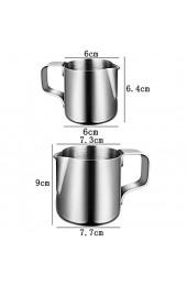 Milchkännchen Milk Pitcher 150ml/350ml Milchkanne Aus Edelstahl Milch Aufschäumkrug Edelstahl Milch Aufschäumen Tasse Kaffee Milchaufschäumer und Latte für Cappuccino und Latté (Silber)