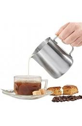 Toruiwa 1X Milchkännchen Milchschaumkännchen aus Edelstahl Milchkanne für Cappuccino Latte Macchiato Kaffe Milch Silber (150ml)