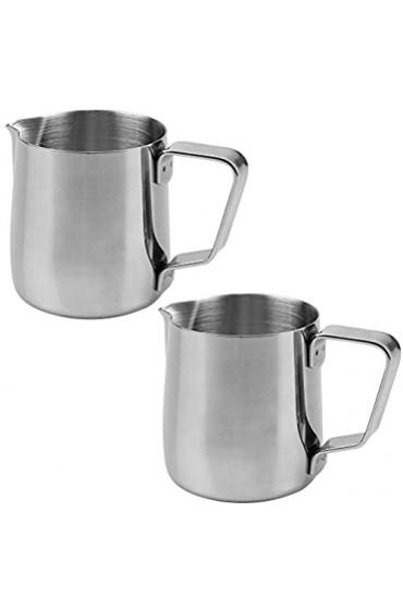 UBERMing 2 Stück Milchkännchen Edelstahl 150 ml Milch Pitcher Aufschäumen Krug Silber Art Aufschäumkännchen Perfekt für Milchaufschäumer Kaffeemaschine Espressoher Cappuccino Macchiato