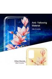 Cathanks Kompatibel mit Samsung A71 TPU Top Qualität Silikon Hülle Malerei Muster Schlank Handytasche Transparent Schutzhülle Blühende Blumen Design Handy-Etui Schutzhülle für Samsung A71.
