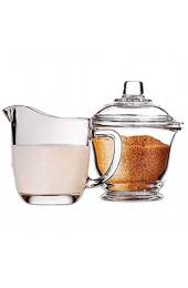 longsing Glaszucker und Creamer-Kaffeeset-Kit transparente Glaszuckerschüssel mit Deckel Milchkrug 170ml / 5.7oz Cremekanne mit Griff