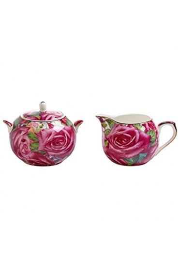 Maxwell & Williams Royal Old England Milch/Zucker-Set Porzellan grün pink 19 x 10.5 x 8 cm 2-Einheiten