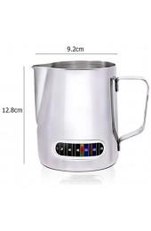 Rapoyo Edelstahl Milchbecher Aufschäumender Krug für Kaffeemilch mit Integriertem Thermometer Edelstahl-Milchaufschäumbecher