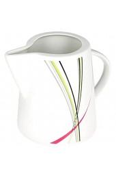 Van Well I 2-TLG. Geschirr-Set Fashion: Zucker-Dose mit Deckel + Milch-Kännchen I Spender + Gießer I abstrakte Streifen pink-grün-grau-schwarz I Porzellan-Geschirr