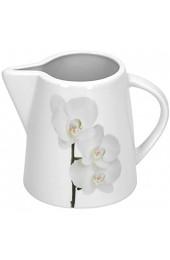 Van Well Vanda weiße Orchidee 2-TLG. Set Zuckerdose mit Deckel Ø 95 mm + Milchkännchen 220 ml Blumendekor edles Marken-Porzellan