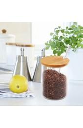 77L Zuckerdose Glas Zucker Schüssel mit Löffel und Deckel aus Bambus für Zuhause und Küche elegantes Design 350ML (11.8 FL OZ)