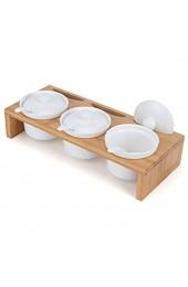 LONGBLE Gewürzgläser mit Löffel Gewürzdosen Keramik mit Deckel auf Bambus Gestell Marmeladendosen Parmesandosen auch ideal für Vorspeisen Sauce Snacks Zuckerdose Salzdose für Küche Esstisch Bistro