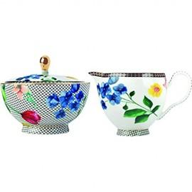 Maxwell & Williams HV0058 Teas & C's Milchkännchen & Zuckerdose mit Contessa Design porzellan weiß