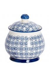 Nicola Spring Gemusterte Zucker-Dose/Topf mit Deckel - Blaues Blumen-Desin x1