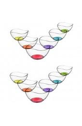 technic24 LAV 12 TLG. Glasschalen Vira mit farbige Boden Schalen Glasschale Dessertschale farbige Glasschale Vorspeise Glas Gläser 310ml
