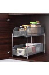 HAITRAL Küchen Etagenregal 2 Etagen Schiebe Schublade Aufbewahrungs Organisator Schubladenregal für Küche Schrank Arbeitsplatte