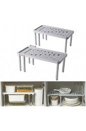 HAOGUT 2er-Set Regaleinsatz für Küchenschrank Organizer Erweiterbarer Schrank Regal für mehr Abstellfläche Küche Organizer für Geschirr Konservendosen und Gewürze aus Kunststoff und Edelstahl Grau