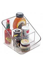 iDesign Aufbewahrungsbox mit 3 Fächern große Vorratsdose aus BPA-freiem Kunststoff Küchenorganizer für Verpackungen und Gewürze durchsichtig