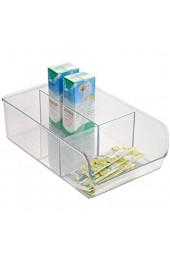 iDesign Aufbewahrungsbox mit 3 Fächern mittelgroße Vorratsdose ohne Deckel aus Kunststoff stapelbarer Küchenorganizer für Vorratsschrank und Schublade durchsichtig