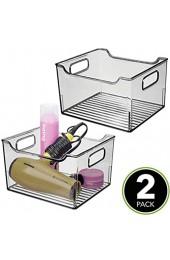 mDesign 2er-Set Ablagebox mit integrierten Griffen – transparente Aufbewahrungsbox mit ansprechendem Design – ideal zur Kosmetikaufbewahrung im Bad – rauchgrau