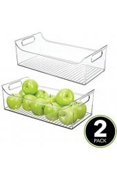 mDesign 2er-Set Aufbewahrungsbox mit Griffen – lange Kühlschrankbox zur Lebensmittelaufbewahrung – Ablage aus Kunststoff für den Küchen- oder Kühlschrank – durchsichtig
