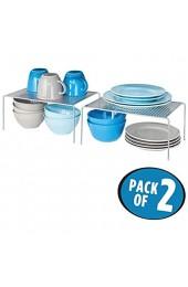 mDesign 2er-Set Geschirrablage für die Küche – freistehendes Tellerregal aus Metall – großes Küchenregal für Tassen Teller Lebensmittel usw. – silberfarben