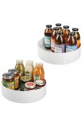 mDesign 2er-Set Lazy Susan Küchenregal – praktisches Gewürzregal für Küchenschrank – drehbarer Gewürzhalter aus Kunststoff – weiß