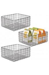 mDesign 3er-Set Allzweckkorb aus Metall – Aufbewahrungskorb für Küche Vorratskammer etc. – kompakter und universeller Drahtkorb – dunkelgrau