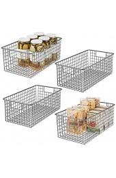 mDesign 4er-Set Allzweckkorb – kompakter Aufbewahrungskorb aus Metall mit Griffen – universelle Gitterbox für Küche Bad und andere Räume – grau
