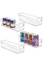 mDesign 4er-Set Aufbewahrungsbox für die Küche – stapelbare Kühlschrankkorb aus Kunststoff – Kühlschrankbox für Milchprodukte Obst und andere Lebensmittel – durchsichtig