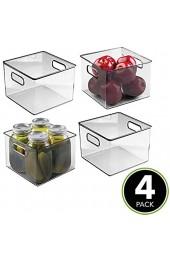 mDesign 4er-Set Aufbewahrungsbox mit Griffen – praktische Kühlschrankbox zur Lebensmittelaufbewahrung – Ablage aus BPA-freiem Kunststoff für den Küchen- oder Kühlschrank – durchsichtig/grau