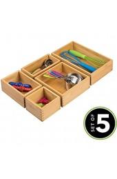 MDESIGN 5er-Set Aufbewahrungsbox für die Küche – Schubladenbox aus Bambus in verschiedenen Größen – stapelbarer Schubladen Organizer für Besteck und Küchenutensilien – naturfarben