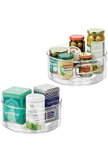 mDesign Aufbewahrungskorb Lazy Susan im 2er-Set – drehbare Lebensmittel-Aufbewahrung – Gewürz Organizer für die Küche – durchsichtig