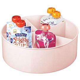mDesign drehbare Ablage für Küche und Bad – runde Ablagefläche mit 5 Fächern und hohem Rand – Aufbewahrung für Babyausstattung aus BPA-freiem Kunststoff und Edelstahl – rosa
